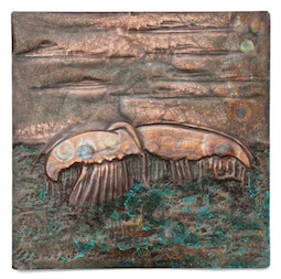 Copper Repousse Whale Tail Panel by Kazuko Inomata