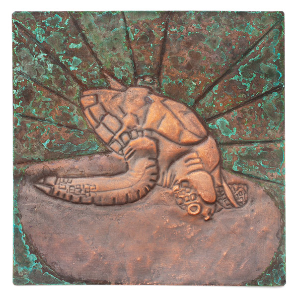 Copper Repousse Turtle Panel by Kazuko Inomata(Japanese Sculpture)