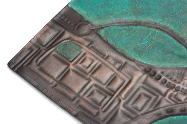 Copper Abstract Repousse Panel by Kazuko Inomata(Japanese Sculpture)