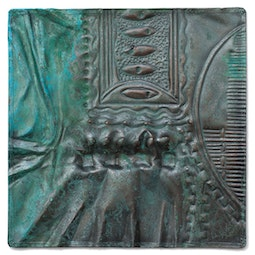 Copper Abstract Repousse Panel by Kazuko Inomata