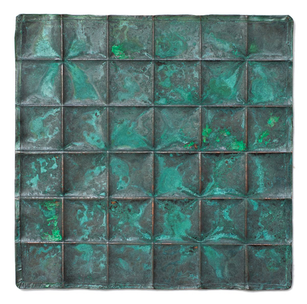 Copper Geometric Repousse Panel - Squares by Kazuko Inomata(Japanese Sculpture)
