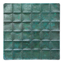 Copper Geometric Repousse Panel - Squares by Kazuko Inomata