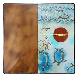 Enamel Petroglyph Panel - Blue/Brown by Kazuko Inomata