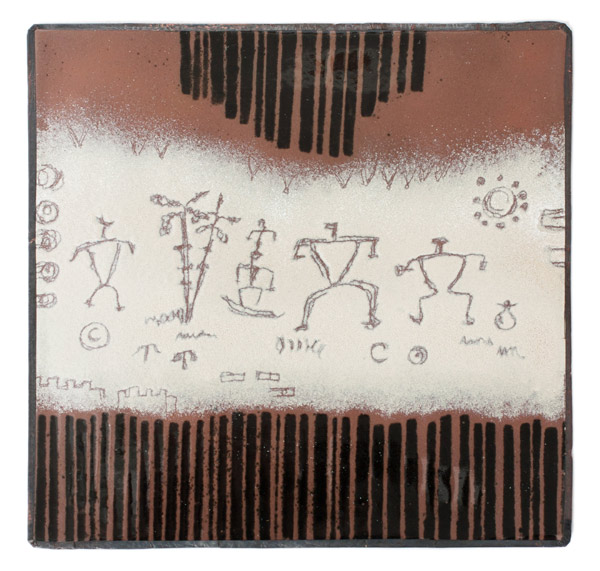 Enamel Petroglyph Panel - Cream/Brown by Kazuko Inomata(Japanese Painting/Drawing)