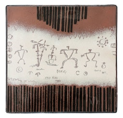 Enamel Petroglyph Panel - Cream/Brown by Kazuko Inomata