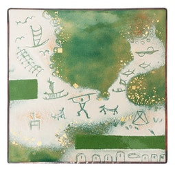 Enamel Petroglyph Panel - Cream/Green by Kazuko Inomata