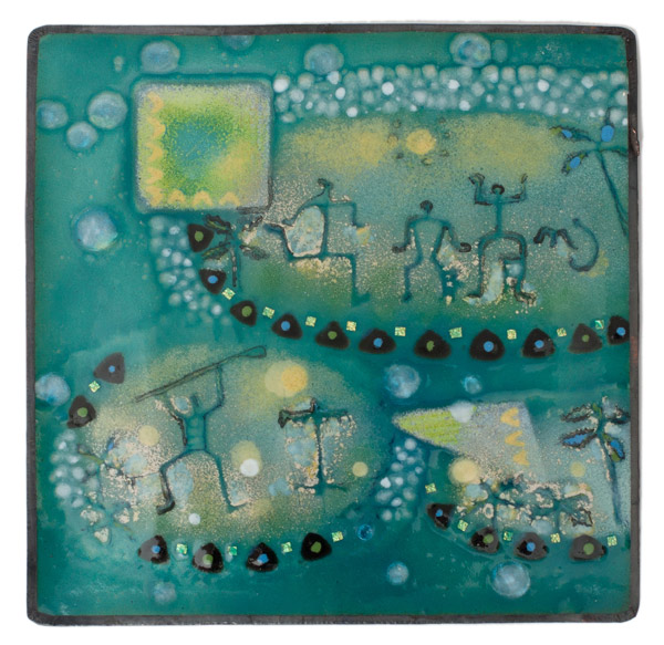 Enamel Petroglyph Panel - Aqua by Kazuko Inomata(Japanese Painting/Drawing)
