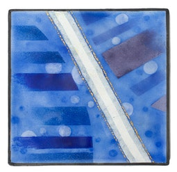 Enamel Panel - Blue Abstract by Kazuko Inomata