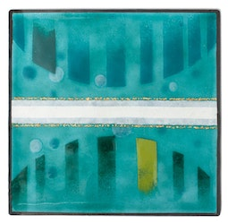 Enamel Panel - Teal Abstract by Kazuko Inomata