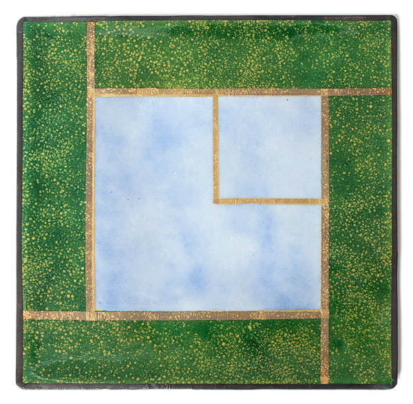 Enamel Panel - Blue Squares by Kazuko Inomata(Japanese Painting/Drawing)