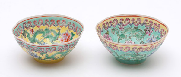 Pair of Over glaze Enamel Bowls(Chinese Sculpture)