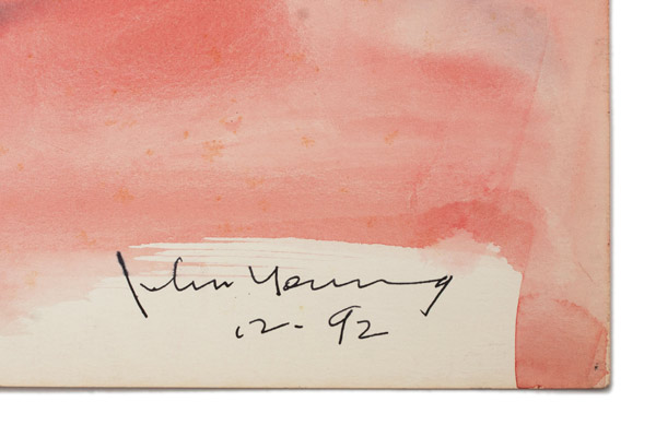 Small Brush & Ink Horse on Pink Background by John Young(Hawaiian Painting/Drawing)