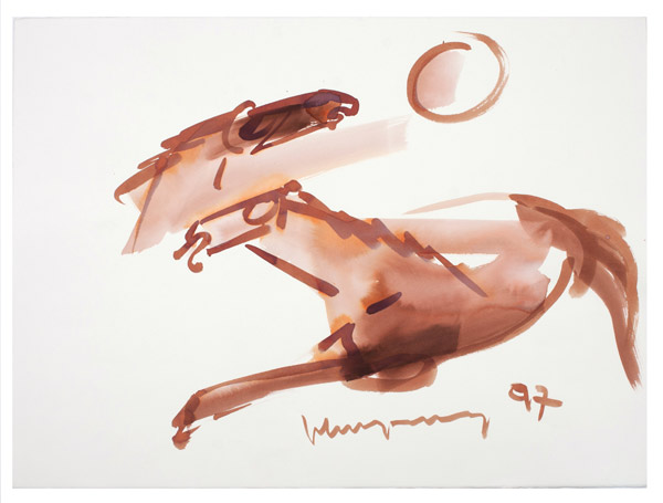 Brown Horse with Sun by John Young(Hawaiian Painting/Drawing)