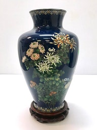 Cloisonne Chrysanthemum Vase (with box and stand) by Ando Jubei Company