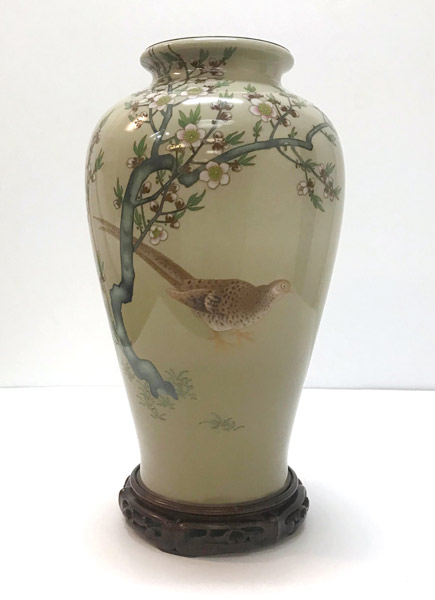 Pheasant Cloisonne Vase with stand by Ando Jubei Company(Japanese Functional Object)