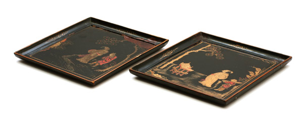 Pair of Tea Trays(Japanese Lacquer)