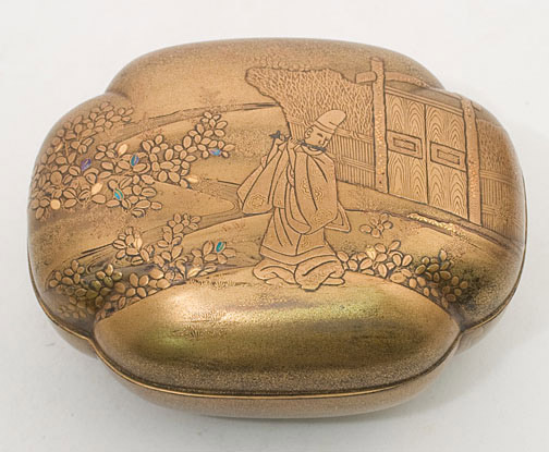 Loaf Shaped Gold Lacquer Box (with box)(Japanese Lacquer)