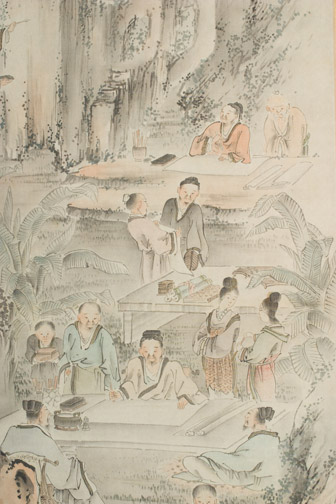 Scholars in a Garden Scene by Toyohiko(Japanese Scroll)