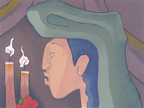 Pilgrim with Candles by Jean Charlot(Mexican Print)
