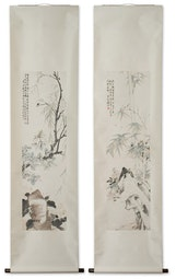 Pair of scrolls with Bamboo & Insects by Pan Ran