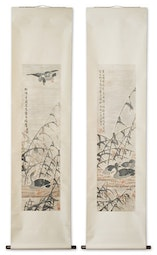 Pair of scrolls with Bamboo & Ducks by Lu Tao