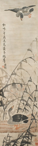 Pair of scrolls with Bamboo & Ducks by Lu Tao(Chinese Scroll)