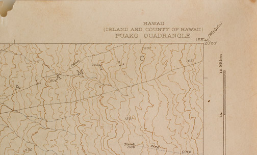 Kona, Hawaii Map(Hawaiian Print)