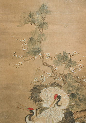 2 Cranes on a Bluff(Japanese Scroll)