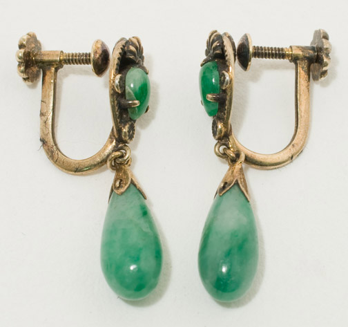 Screw Back Jadeite Earrings(Chinese Jewelry)