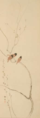 Birds in a Pussy Willow by Imamura Shikou(Japanese Scroll)