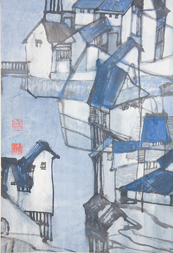 Grand Canal by Cai Tian-Xiong 蔡天雄(Chinese Scroll)