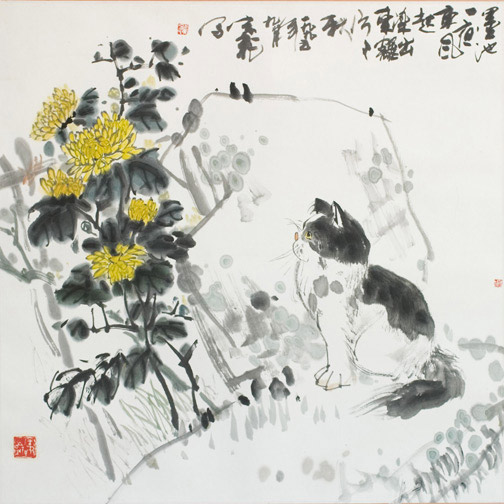 Cat & Mums by Qian Zong Fei(Chinese Painting/Drawing)