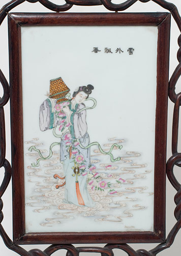 Celestial Beauty Scattering Flowers Table Screen(Chinese Scholar's Table)