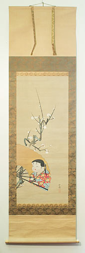 White plum and Okame by Ichibo(Japanese Scroll)