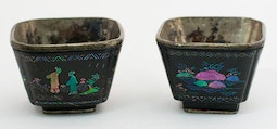 Pair of Small Laque Burgauté Wine Cups