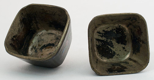 Pair of Small Laque Burgauté Wine Cups(Chinese Functional Object)
