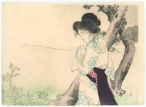 Woman Near a Tree by Mizuno, Toshikata(Japanese Print)