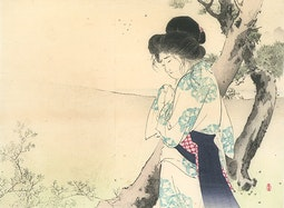 Woman Near a Tree by Mizuno, Toshikata
