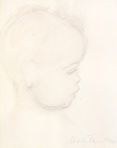 Baby Sketch by Madge Tennent(Hawaiian Painting/Drawing)