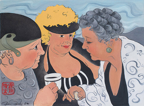 Beach Gossip by Rose Perry(Hawaiian Painting/Drawing)