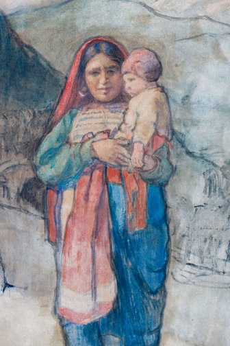 Afghani Mother & Child, Kyber Pass, 1920 by Charles W. Bartlett(Hawaiian Painting/Drawing)
