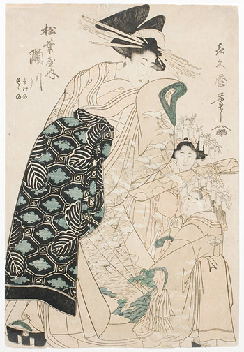 Courtesan and Kamuro by Kikumaro by Kitagawa, Kikumaro(Japanese Print)