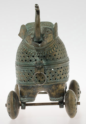 Bronze Rajastani Elephant on Wheels(Indian Sculpture)