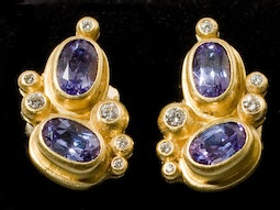 Tanzanite & Diamond Earrings by Tomi