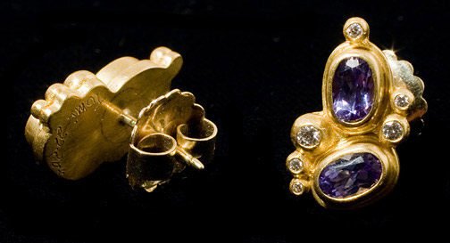 Tanzanite & Diamond Earrings by Tomi(Hawaiian Jewelry)