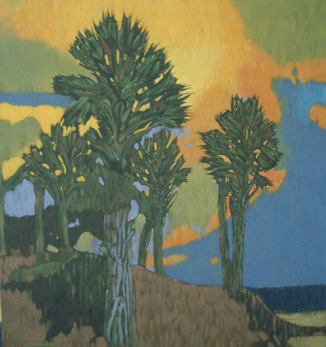 Sunset Palms by Anton Slothower(Polynesian Painting/Drawing)