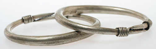 Pair of Miao Silver Bracelets(Chinese Jewelry)