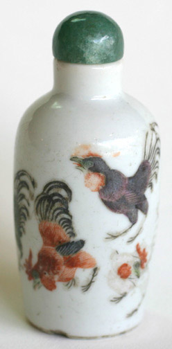 Snuff Bottle with Rooster Design(Chinese Sculpture)