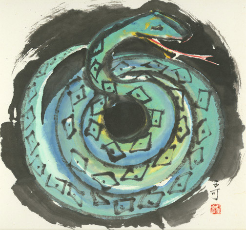 Chinese Zodiac - Snake by H. H. Wong 黃可鏗(Chinese Painting/Drawing)