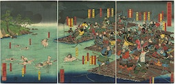 Minamoto Yoritomo Crossing The Water On A Raft by Utagawa Yoshiiku